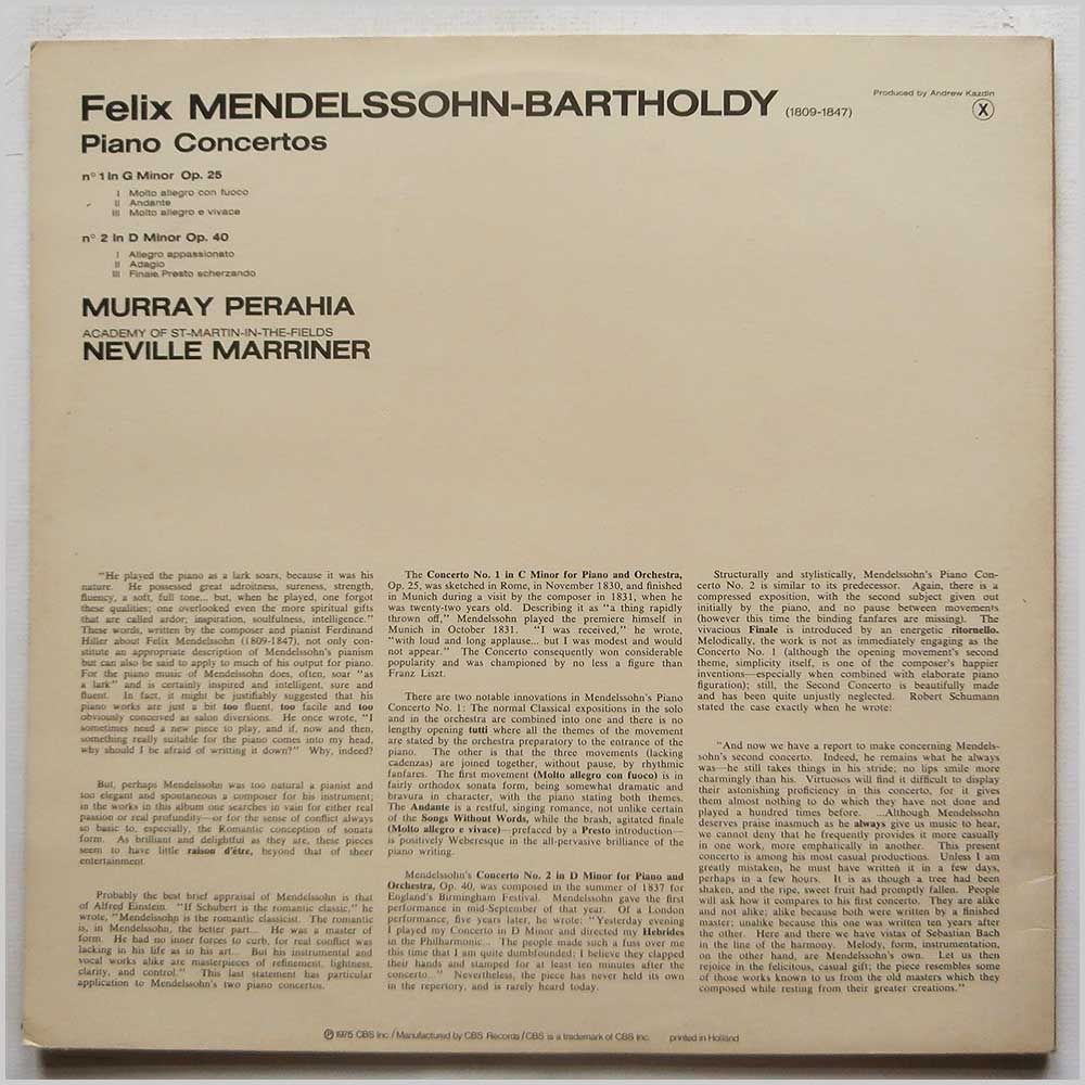 Murray Perahia, Academy Of St. Martin-in-the-Fields, Neville Marriner - Mendelssohn: Piano Concertos Nos 1 and 2 (CBS 76376)