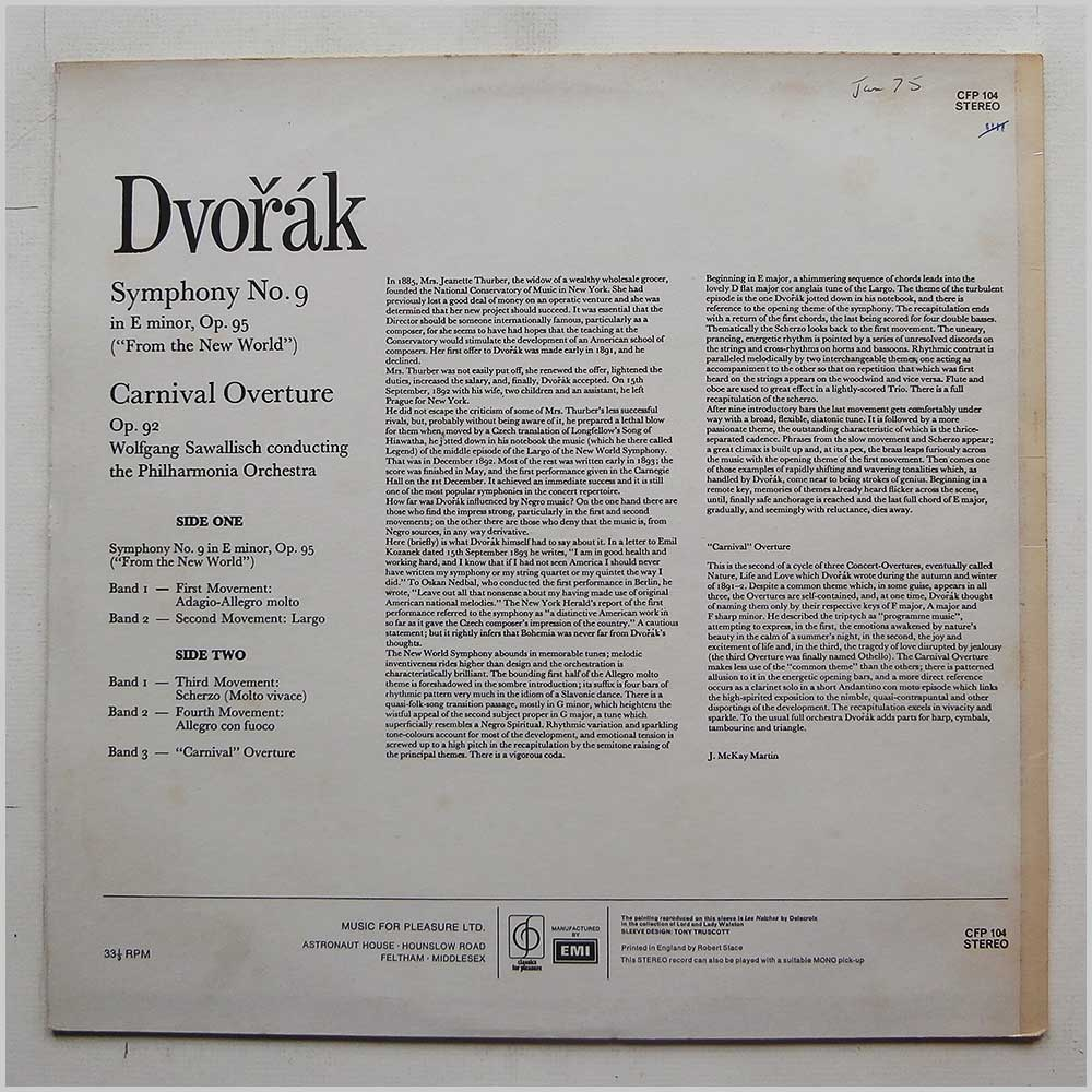 Wolfgang Sawallisch, The Philharmonia Orchestra - Dvorak: New World Symphony, Carnival Overture (CFP 104)
