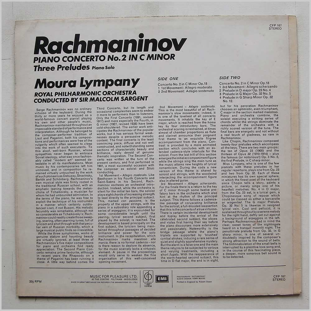 Moura Lympany, Sir Malcolm Sargent, Royal Philharmonic Orchestra - Rachmaninov: Piano Concerto No.2, Three Preludes (CFP 167)