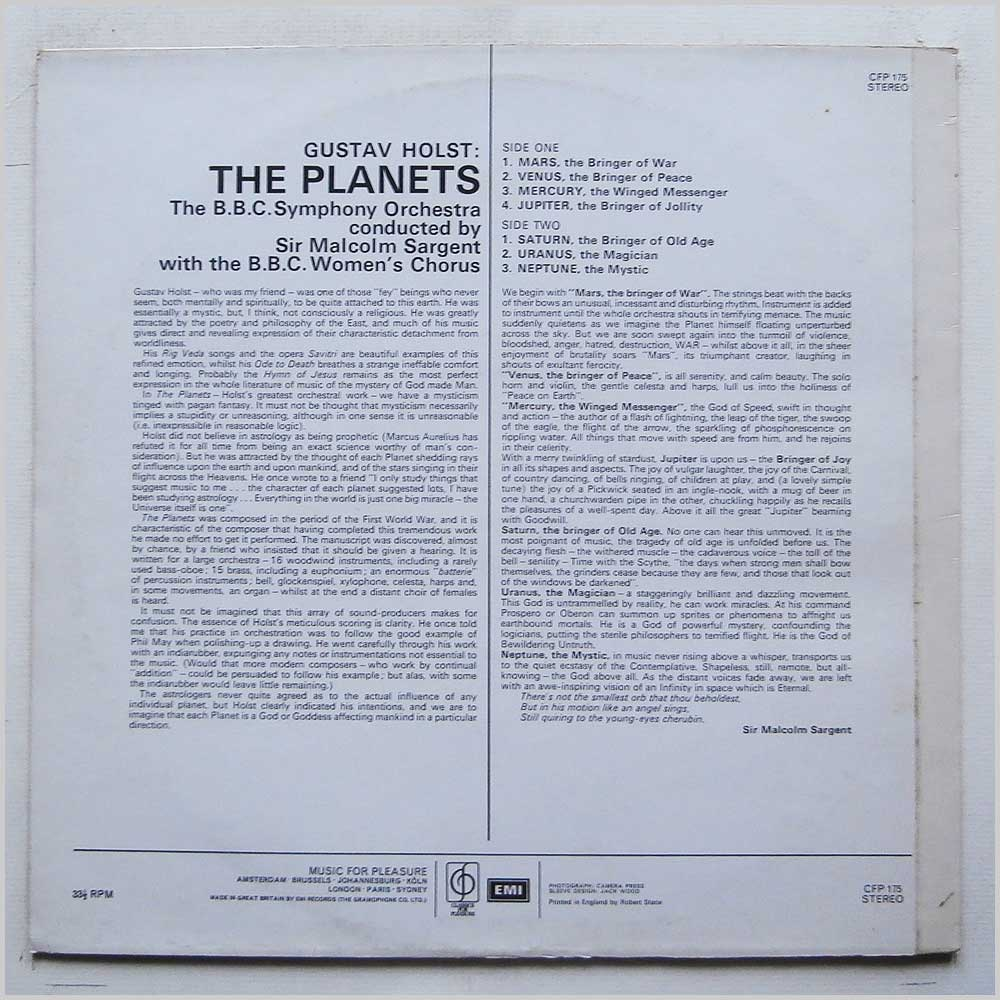 Sir Malcolm Sargent, BBC Symphony Orchestra - Holst: The Planets (CFP 175)