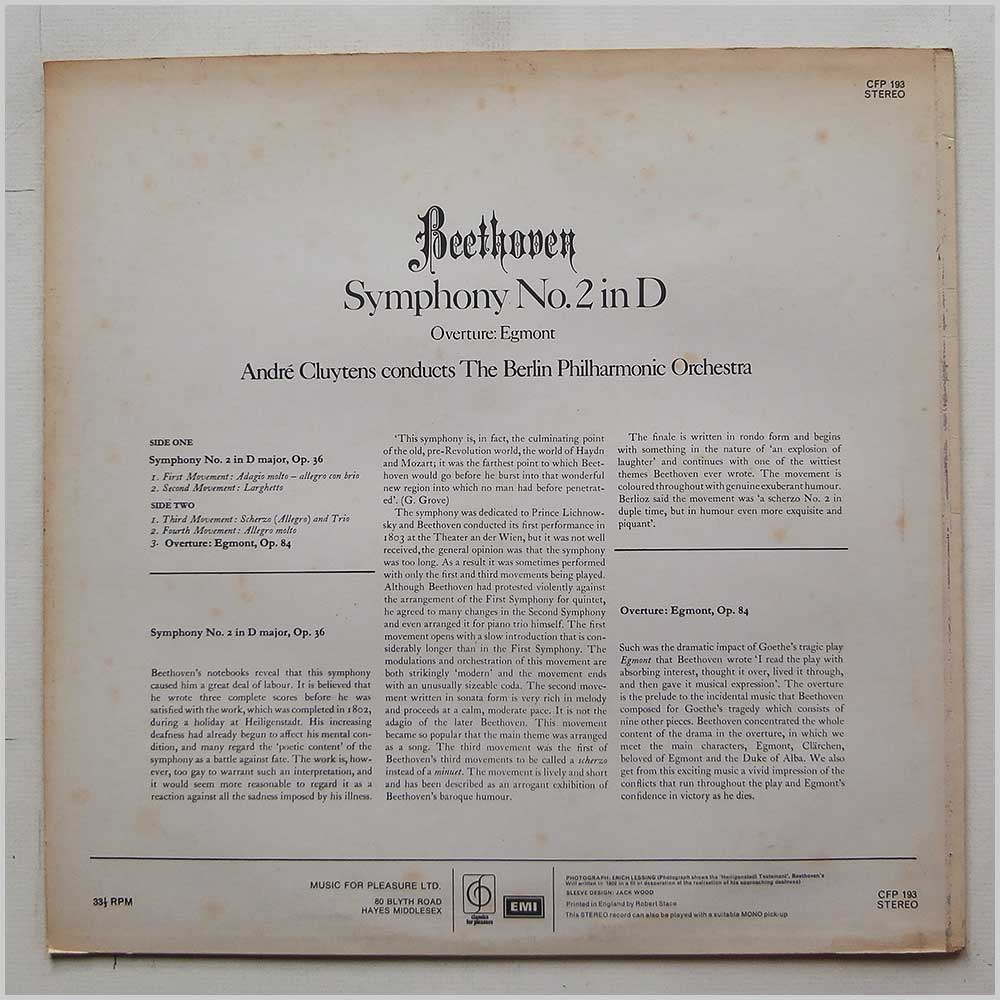 Andre Cluytens, Berlin Philharmonic Orchestra - Beethoven: Symphony No.2 in D (CFP 193)