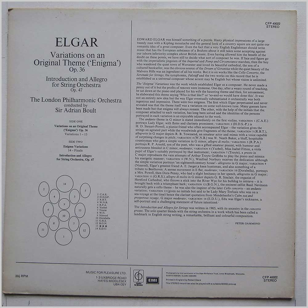 Sir Adrian Boult - Elgar Enigma Variations, Introduction and Allegro for Strings (CFP 40022)