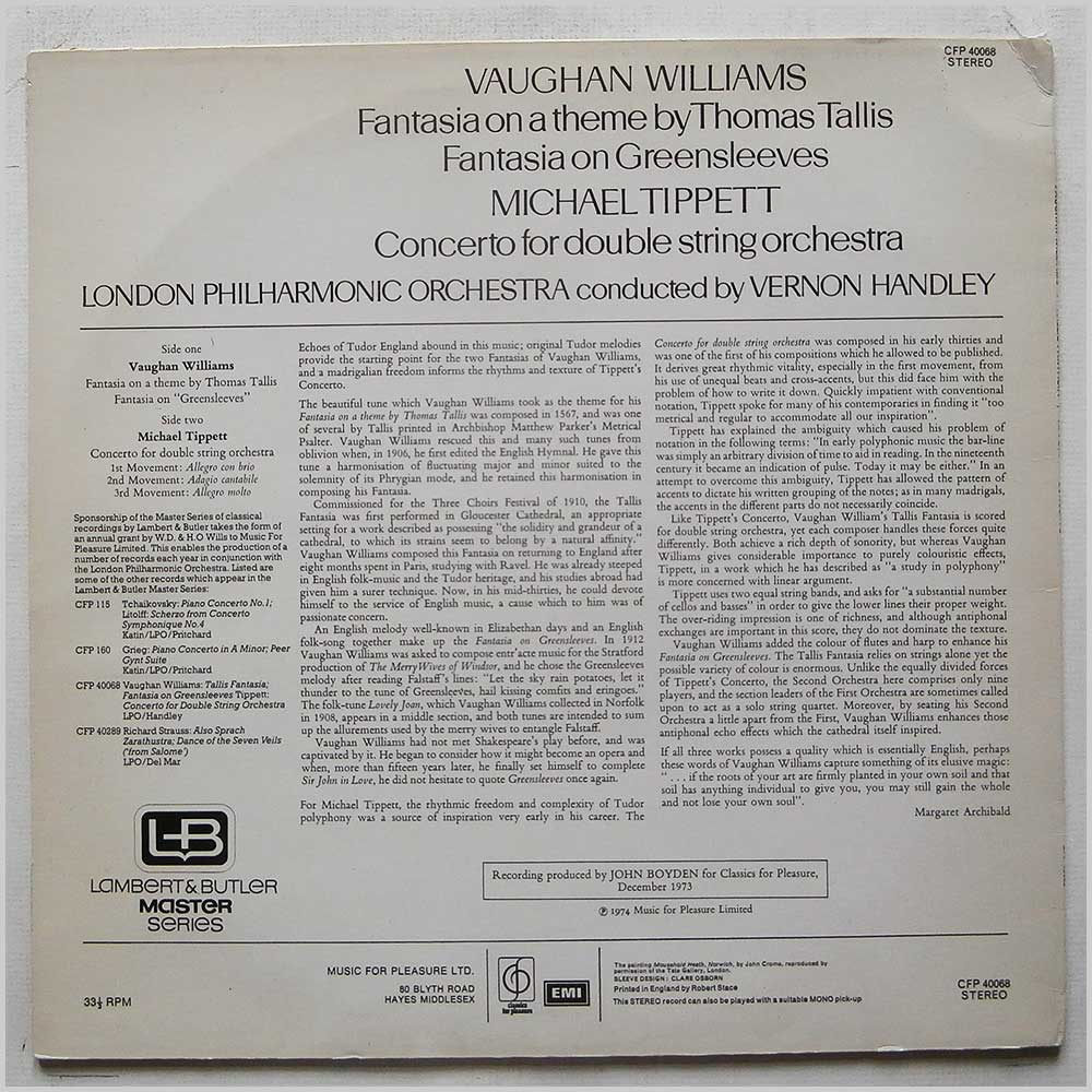 Vernon Handley, London Philharmonic Orchestra - Vaughn Williams: Tallis Fantasia, Fantasia On Greensleeves, Tippet: Concerto For Double String Orchestra (CFP 40068)