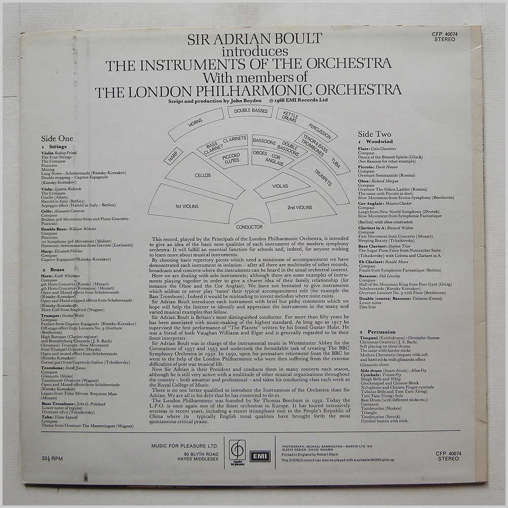 Sir Adrian Boult, The London Philharmonic Orchestra - Sir Adrian Boult Introduces The Instruments Of The Orchestra (CFP 40074)