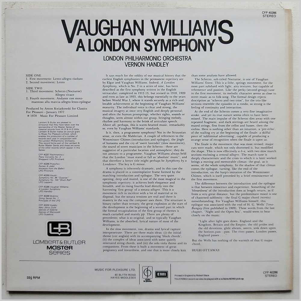 Vernon Handley, London Philharmonic Orchestra - Vaughn Williams: A London Symphony (CFP 40286)