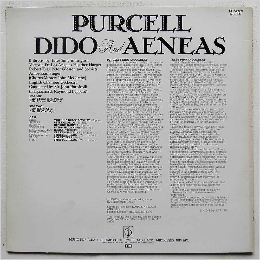 Sir John Barbirolli, English Chamber Orchestra - Purcell: Dido and Aeneas (CFP 40359)