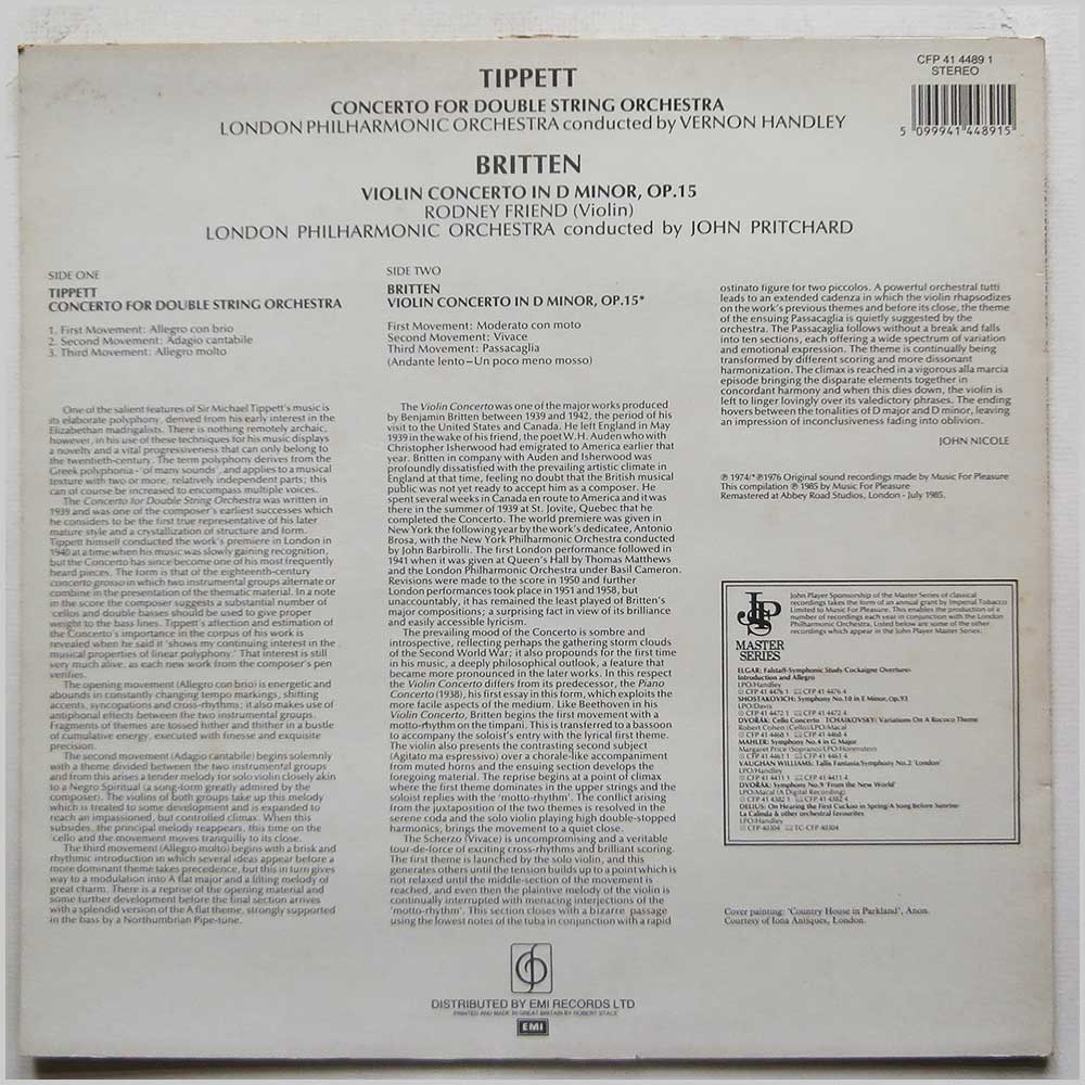 Vernon Handley, John Pritchard, London Symphony Orchestra - Sir Michael Tippett: Double Concerto, Benjamin Britten: Violin Concerto (CFP 41 4489 1)