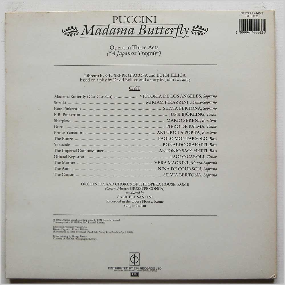 Victoria De Los Angeles, Jussi Bjorling, Orchestra And Chorus Of The Opera House, Rome, Gabriele Santini - Puccini: Madama Butterfly (CFPD 41 4446 3)