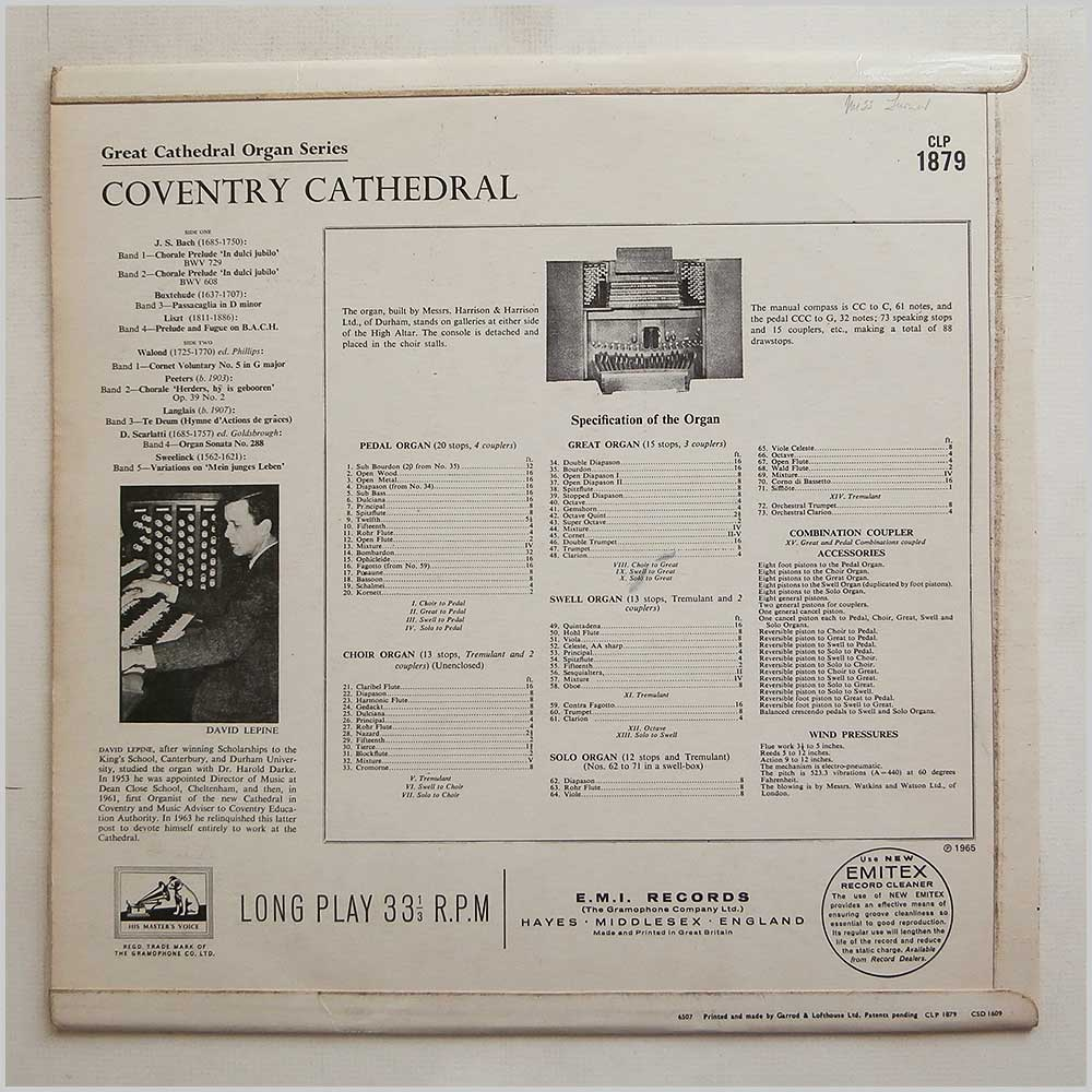 David Lepine - Great Cathedral Organ Series: Coventry Cathedral (CLP 1879)