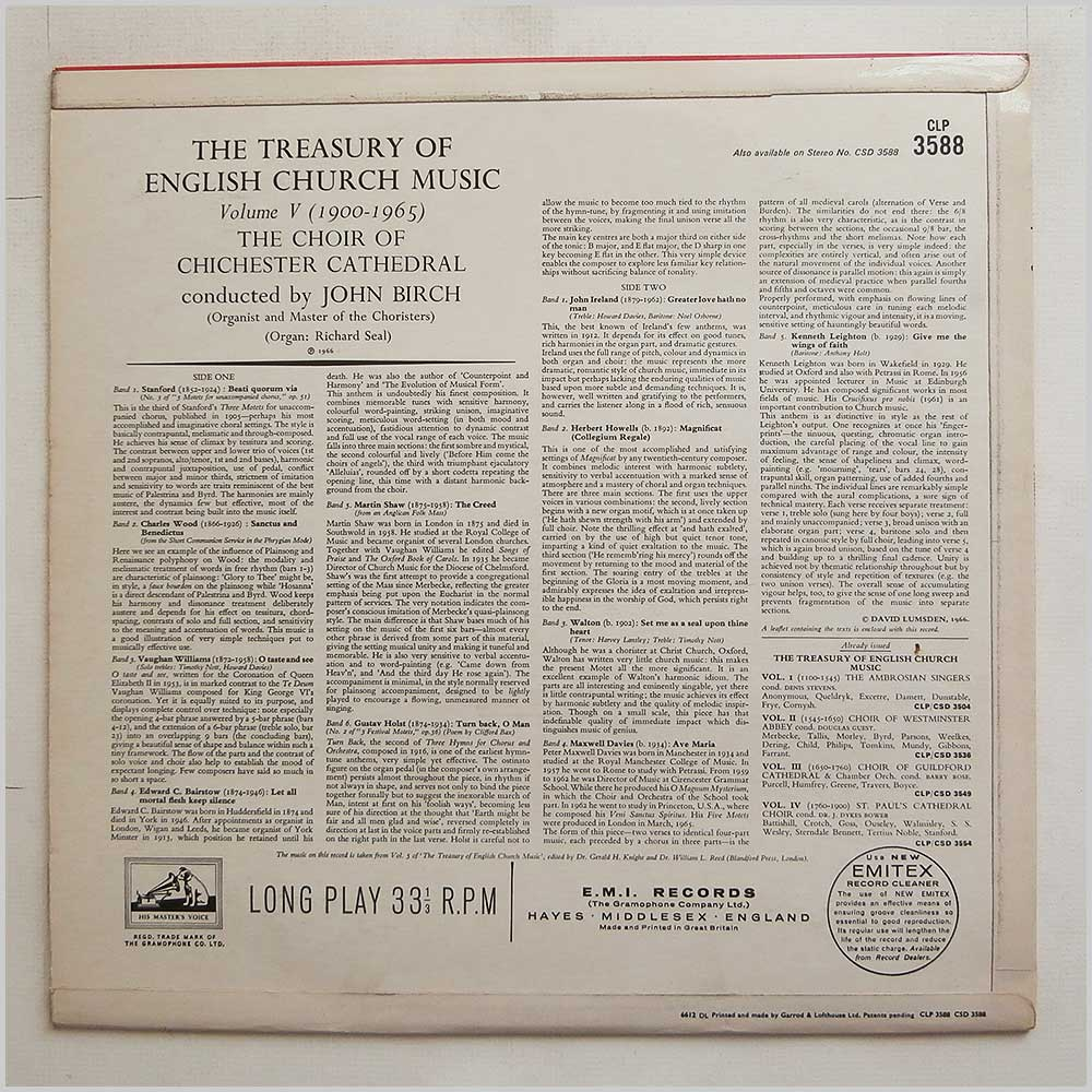 The Choir Of Chichester Cathedral - The Treasury Of English Church Music Volume Five: 1900-1965 (CLP 3588)