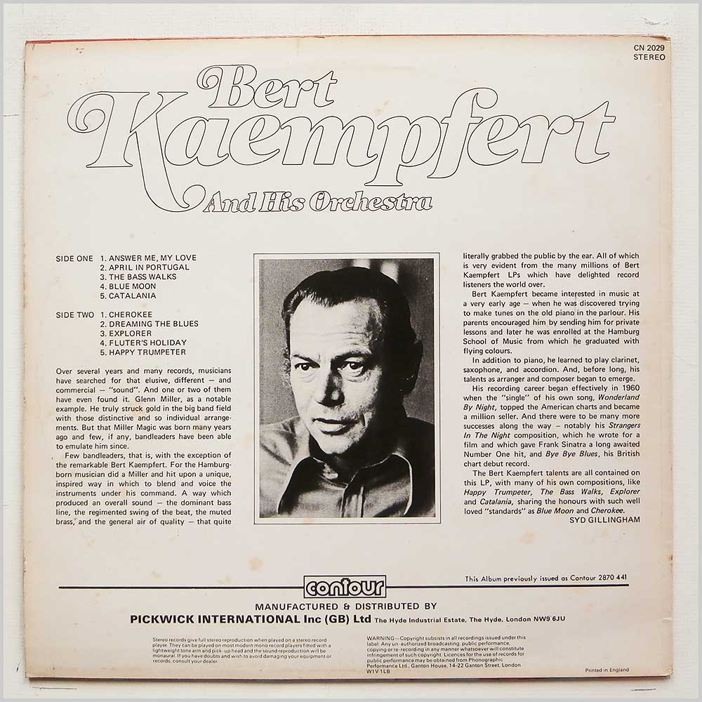 Bert Kaempfert and His Orchestra - Bert Kaempfert And His Orchestra (CN 2029)