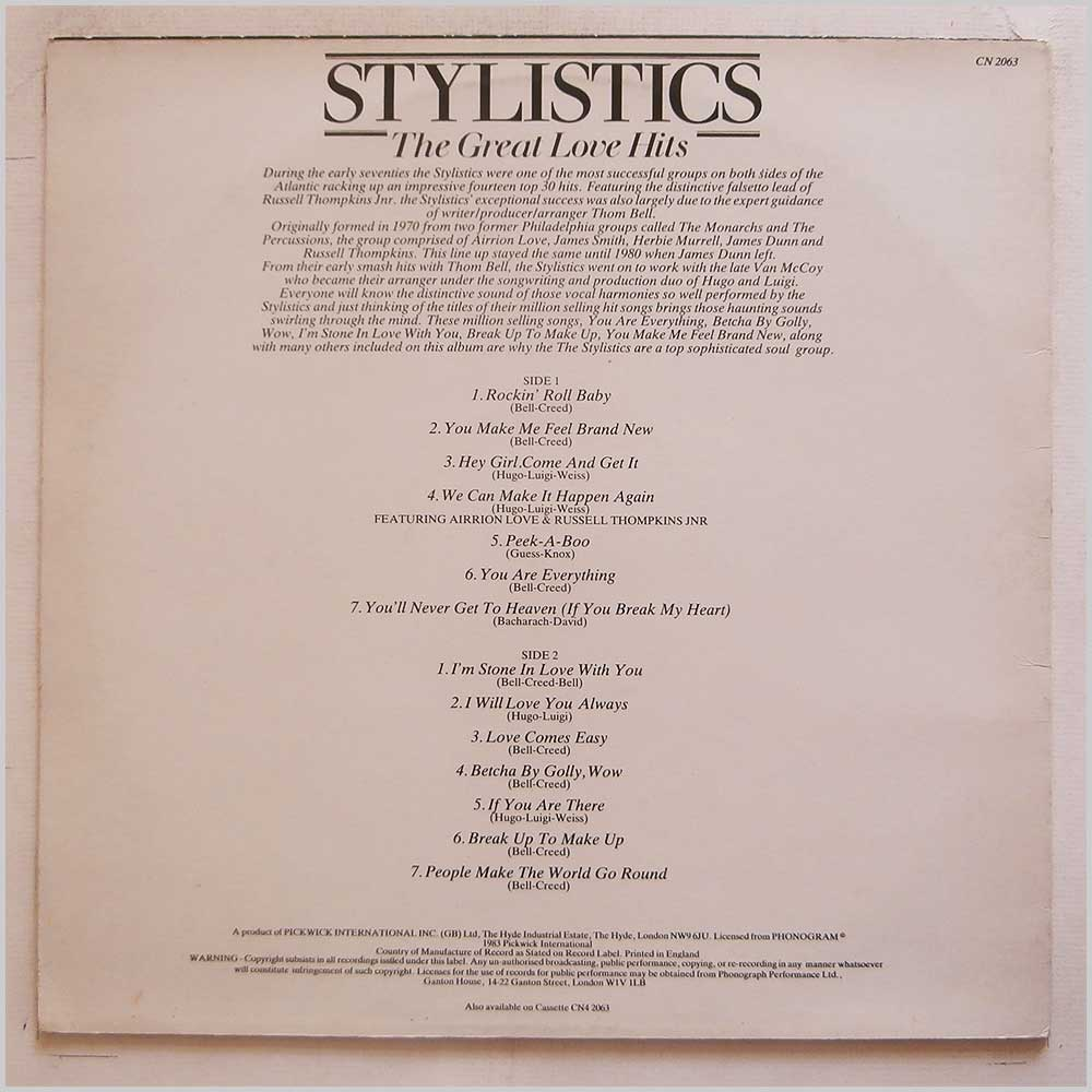 Stylistics - The Greatest Love Hits (CN 2063)