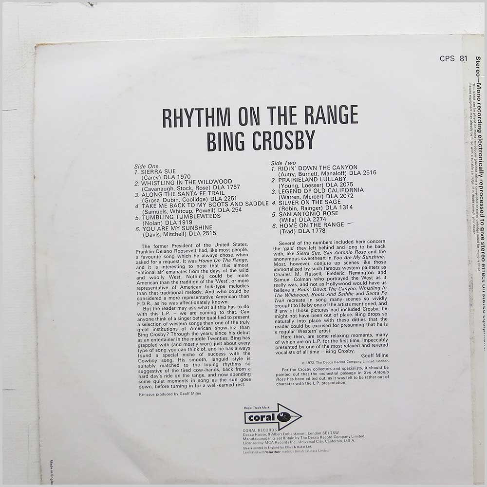 Bing Crosby - Rhythm Of The Range (CPS 81)