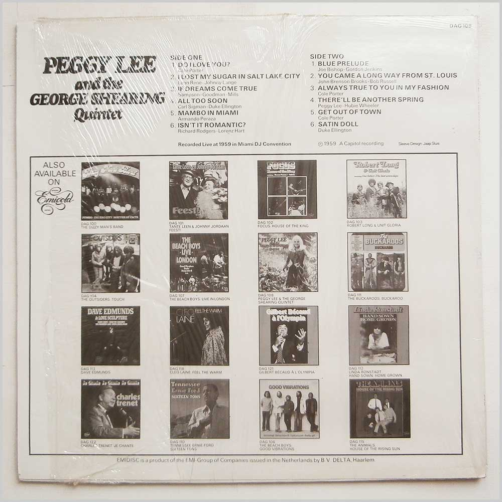 Peggy Lee and The George Shearing Quintet - The Beauty And The Beat (DAG 108)
