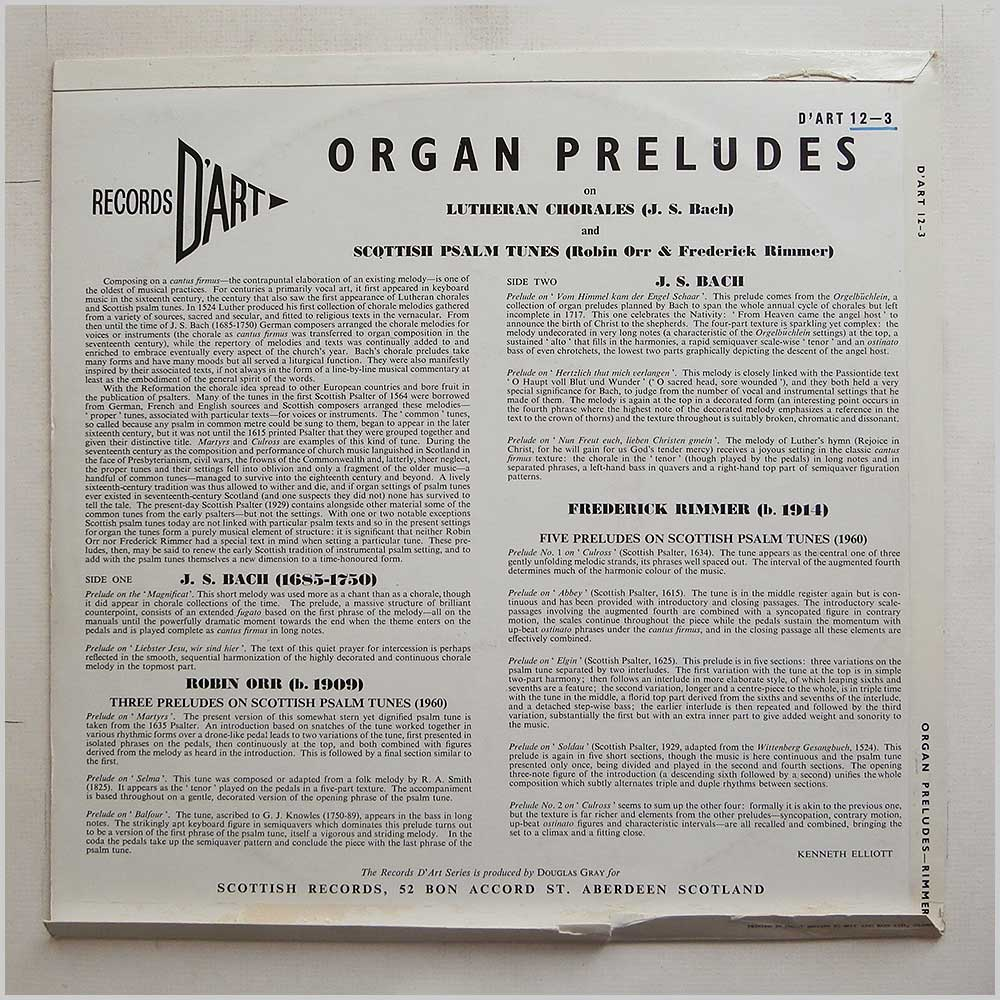 Frederick Rimmer - Organ Preludes On Lutheran Chorales, On Scottish Psalm Tunes (D'ART 12-3)