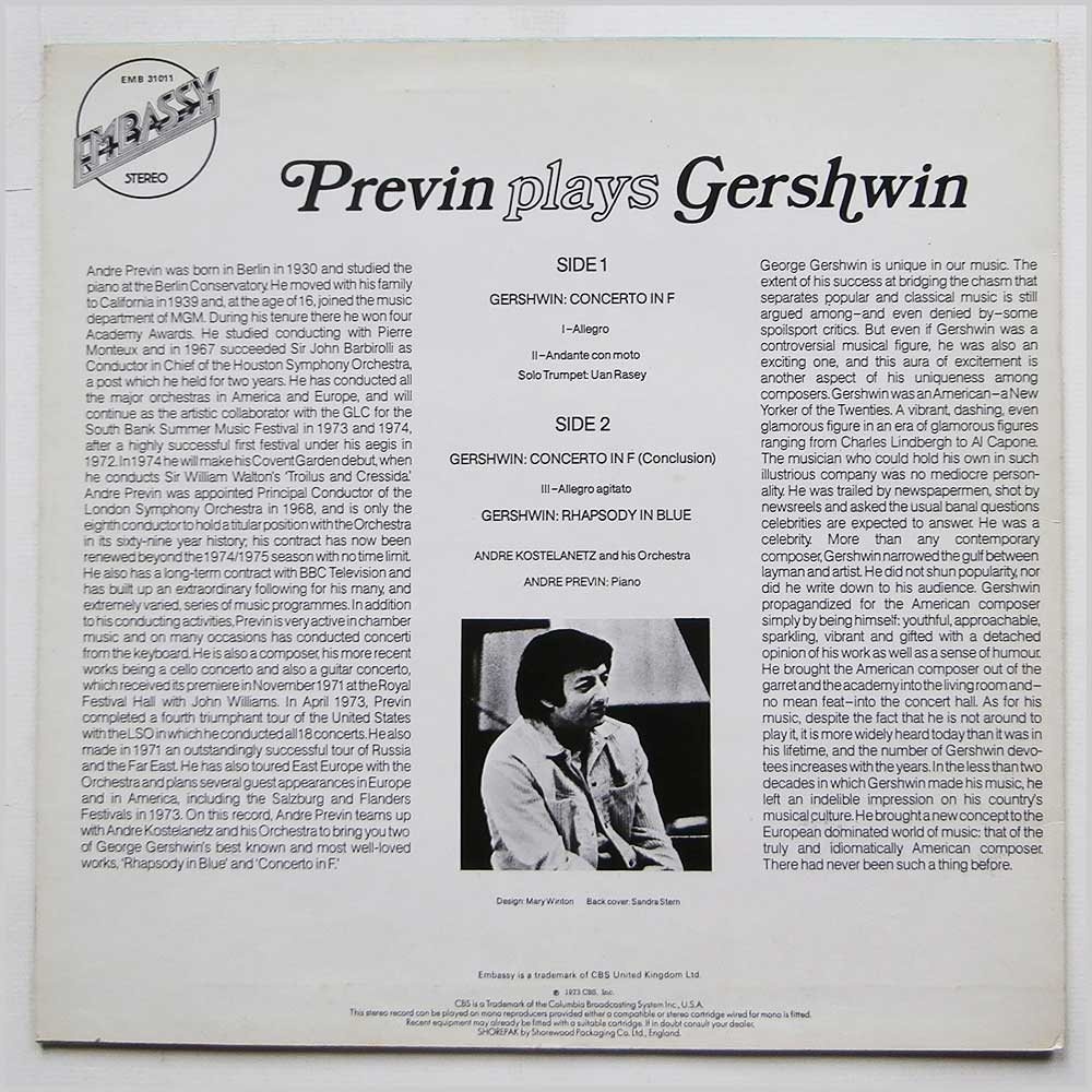 Andre Previn - Previn Plays Gershwin (EMB 31011)