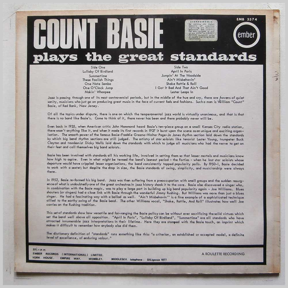 Count Basie and His Orchestra - Count Basie Plays The Great Standards (EMB 3374)