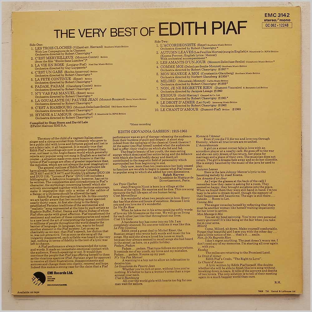 Edith Piaf - The Very Best Of Edith Piaf (EMC 3142)