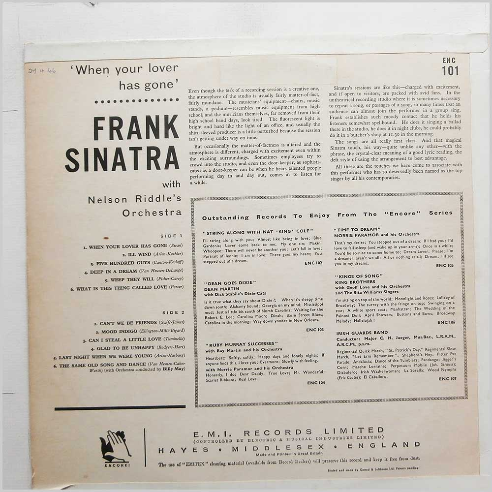 Frank Sinatra - When Your Lover Has Gone (ENC 101)
