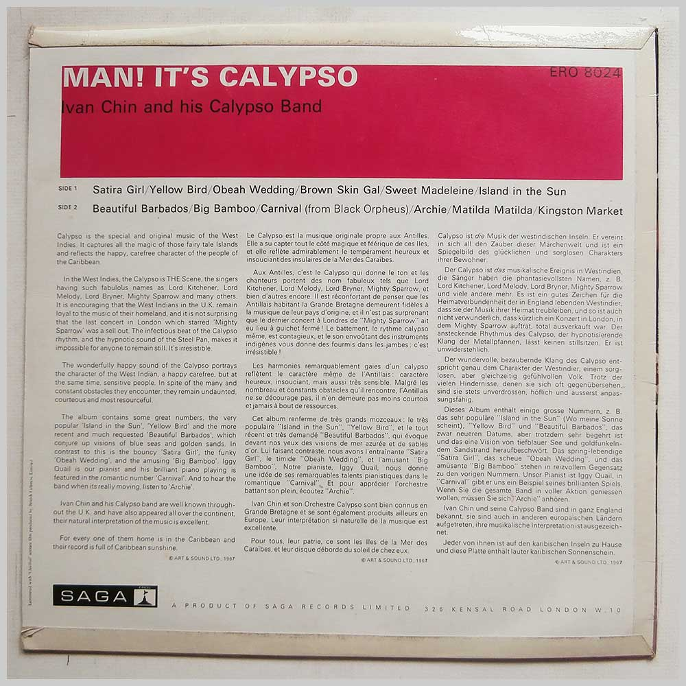 Ivan Chin and His Calypso Band - Man! It's Calypso (ERO 8024)