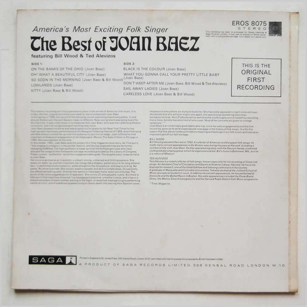 Joan Baez - The Best Of Joan Baez (ERO 8075)
