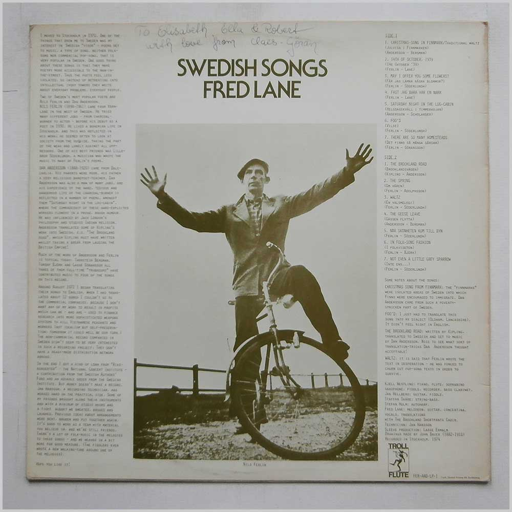 Fred Lane - Swedish Songs (FER-AND LP-1)