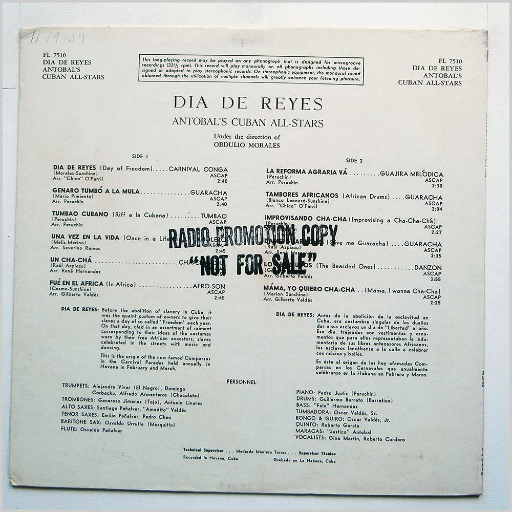 Antobal's Cuban All Stars - Dia De Reyes: The Ultimate Cuban Rhythm (FL 7510)