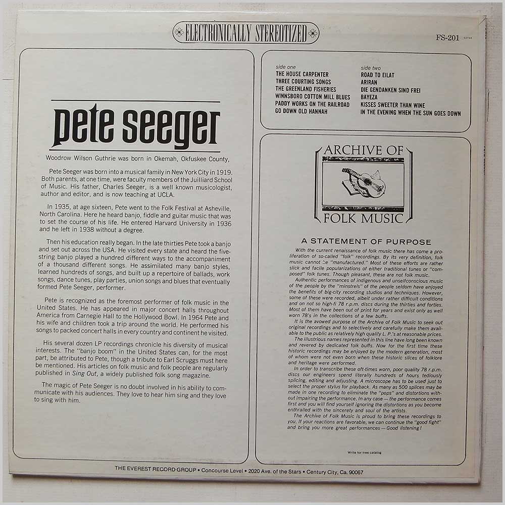 Pete Seeger - Archive Of Folk Music: Pete Seeger (FS-201)