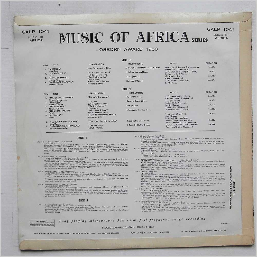 Various - Music of Africa Osborn Award 1958 (GALP 1041)