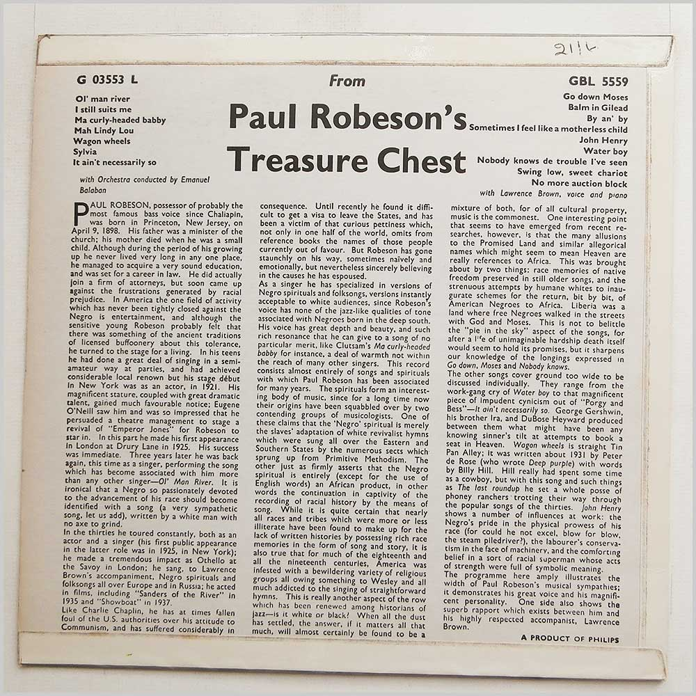 Paul Robson - From Paul Robson's Treasure Chest (GBL 5559)