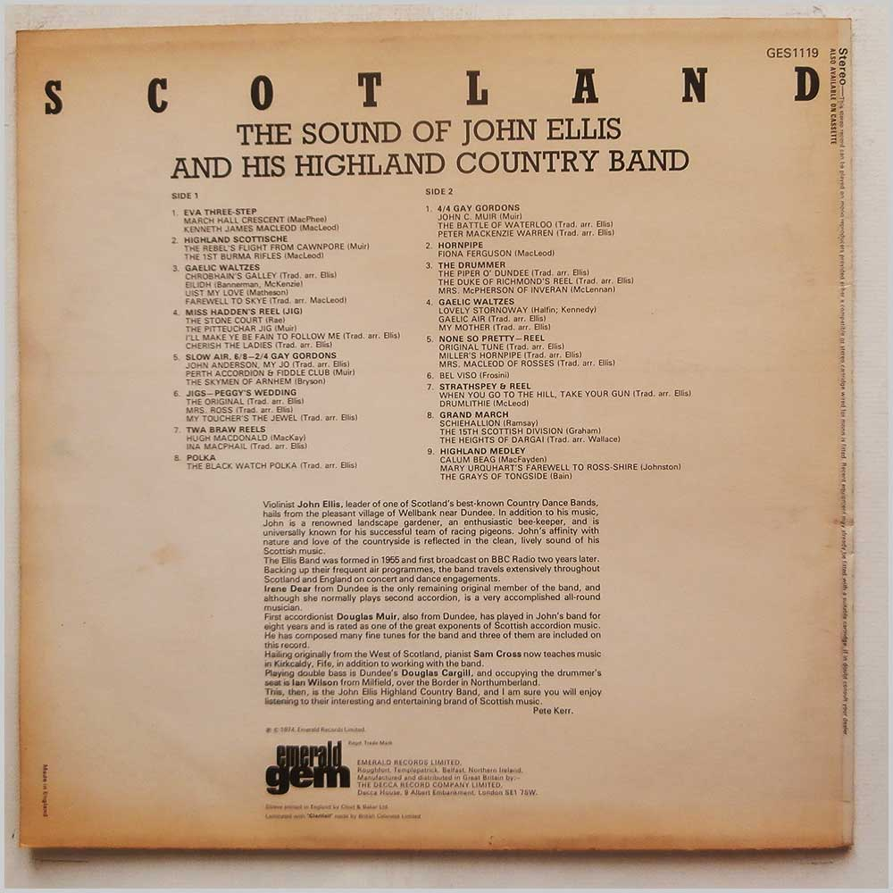 John Ellis and His Highland Country Band - The Sound Of John Ellis And His Highland Country Band (GES 1119)