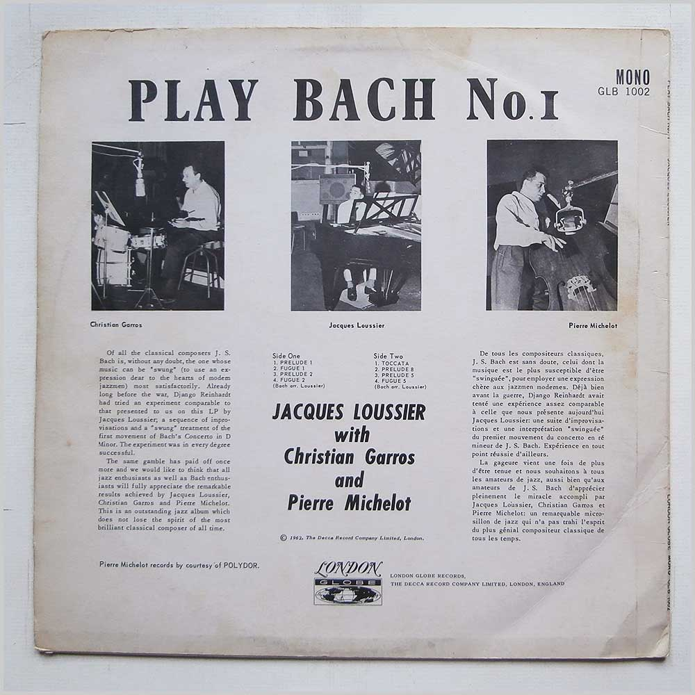 Jacques Loussier - Play Bach No. 1 (GLB 1002)