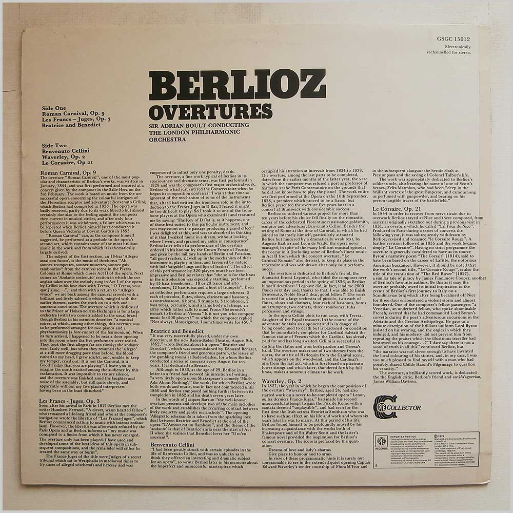 Sir Adrian Boult, The London Philharmonic Orchestra - Hector Berlioz: Overtures (GSGC 15012)
