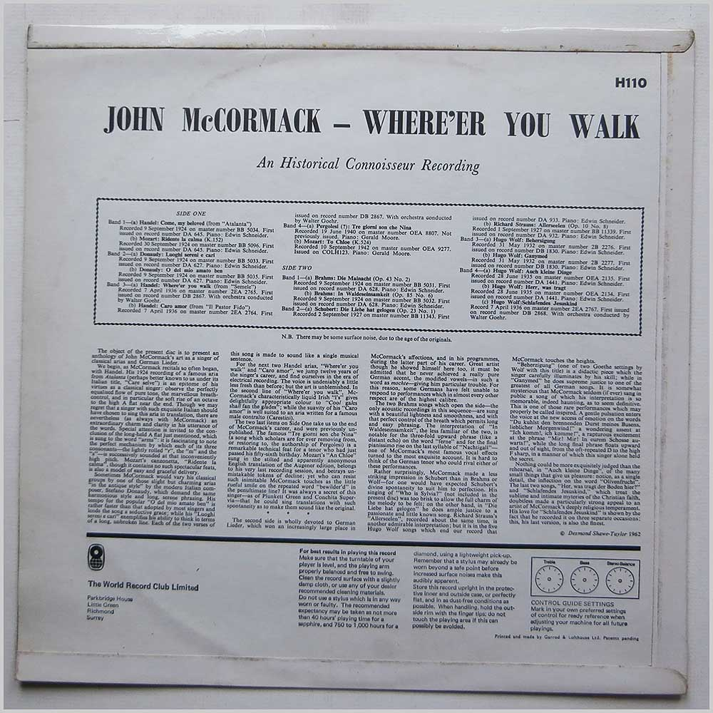 John McCormack - Where'er You Walk (H110)
