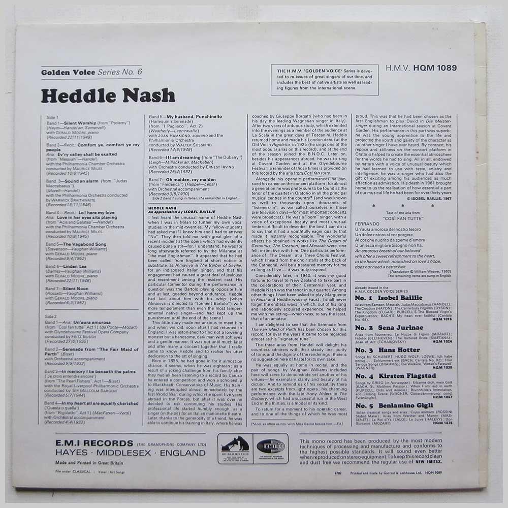 Heddle Nash - Arias and Songs By Handel, Mozart, Bizet, Verdi, Vaughan Williams (HQM 1089)