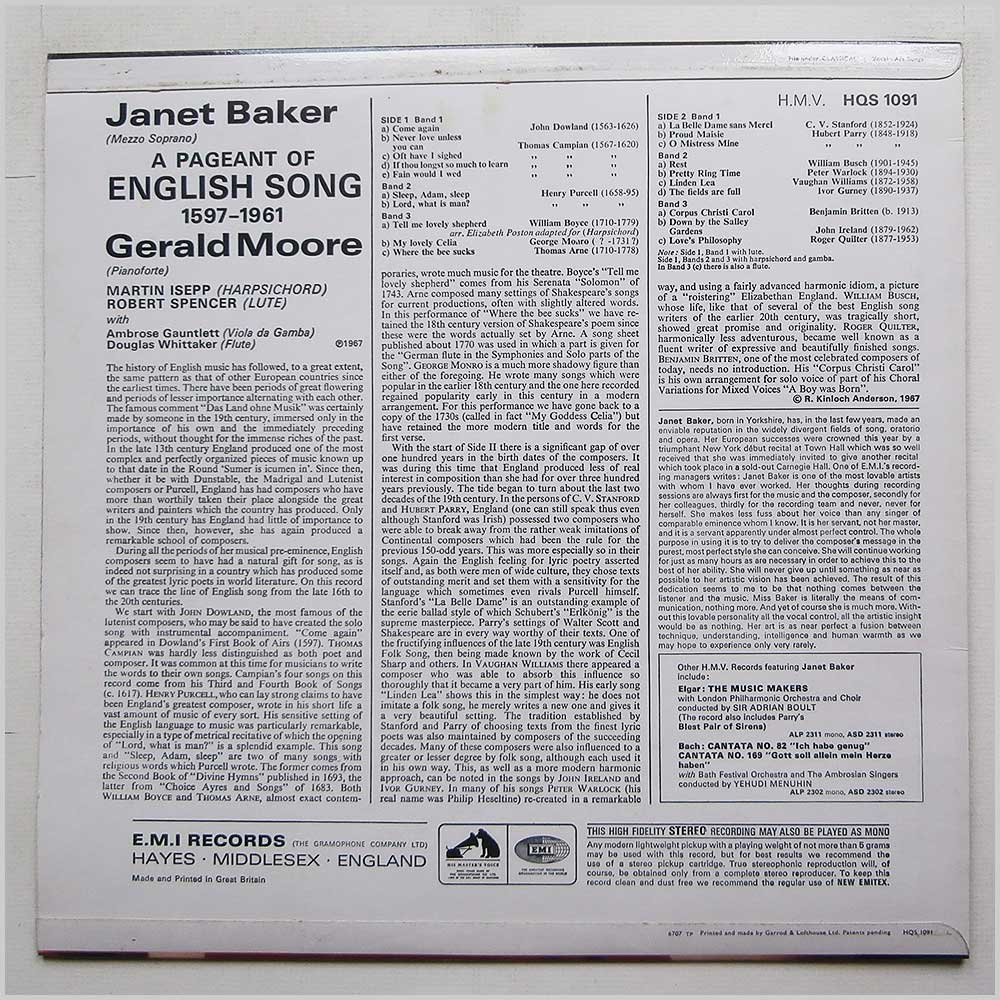 Janet Baker - A Pageant Of English Song (HQS 1091)