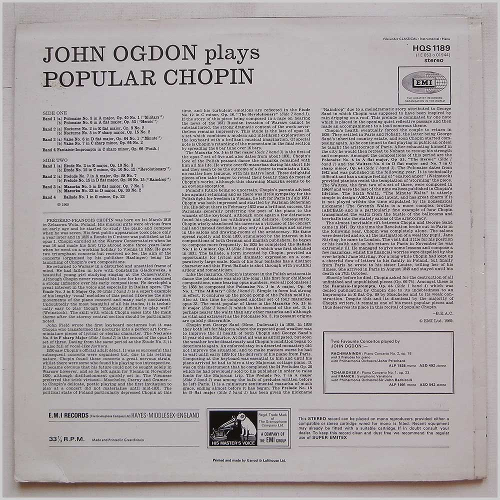 John Ogdon - John Ogdon Plays Popular Chopin (HQS 1189)