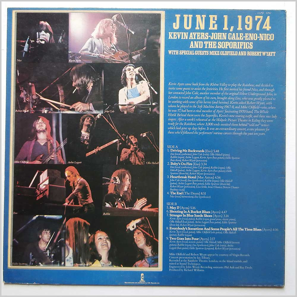 Kevin Ayers, John Cale, Eno, Nico - June 1, 1974 (ILPS 9291)