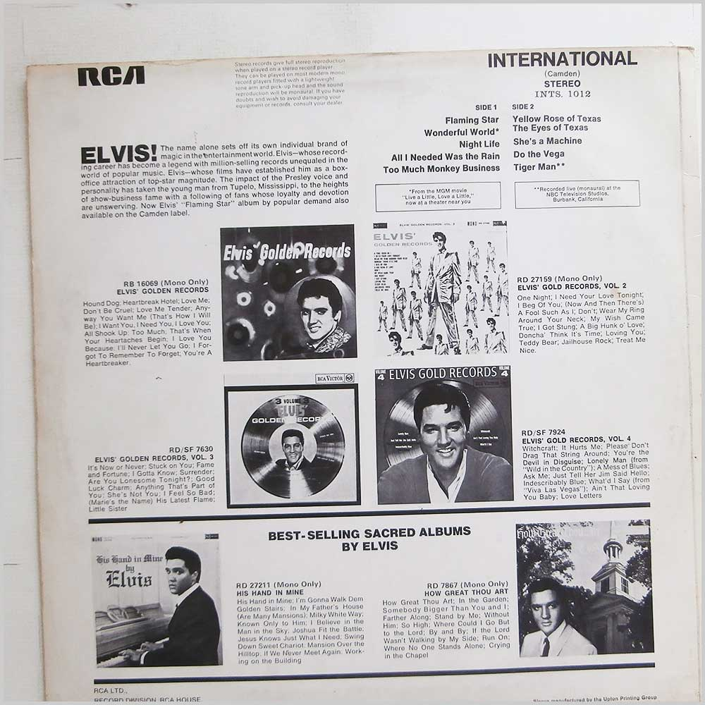 Elvis Presley - Flaming Star (INTS 1012)