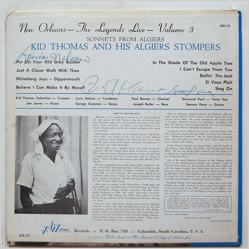 Kid Thomas and His Creole Jazz Band - Sonnets From Algiers (JCE-13)