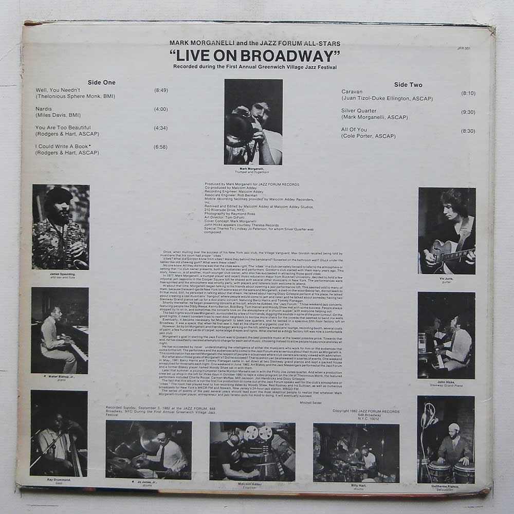 Mark Morganelli and The Jazz Forum All Stars - Live On Broadway (JFR 001)