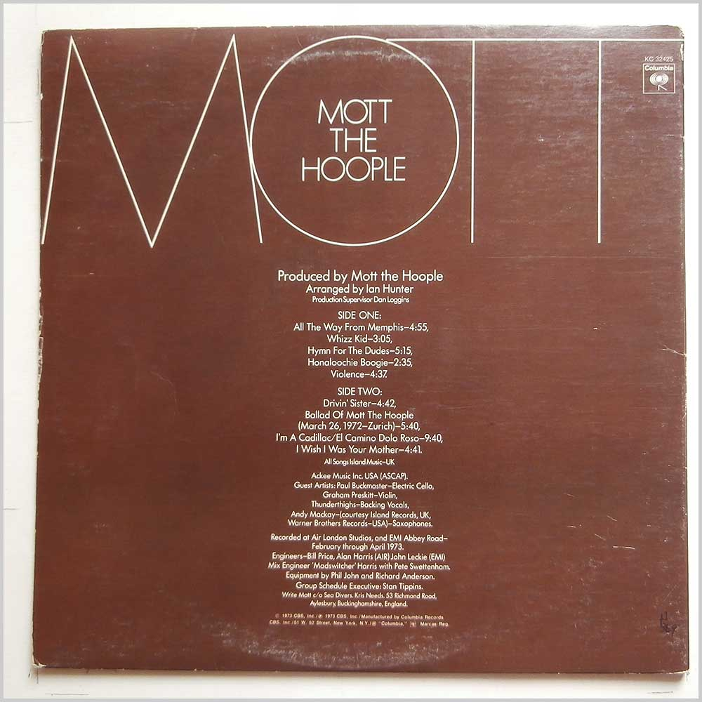 Mott The Hoople - Mott (KC 32425)