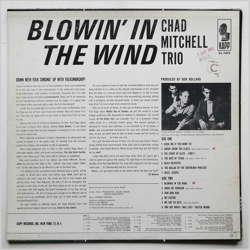 Chad Mitchel Trio - Blowin In The Wind (KL-1313)