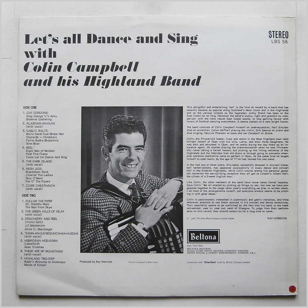 Colin Campbell And His Highland Band - Let's All Dance And Sing (LBS 56)