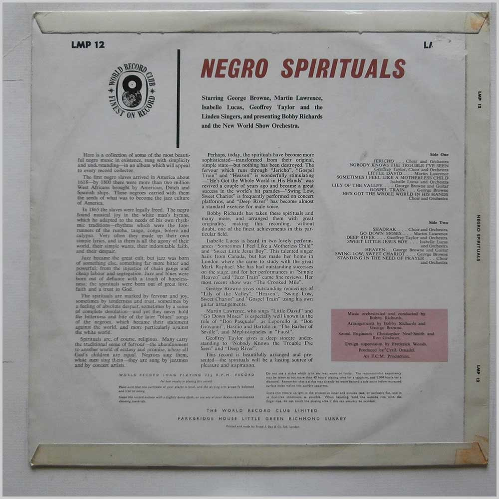 Bobby Richards - Negro Spirituals (LMP 12)