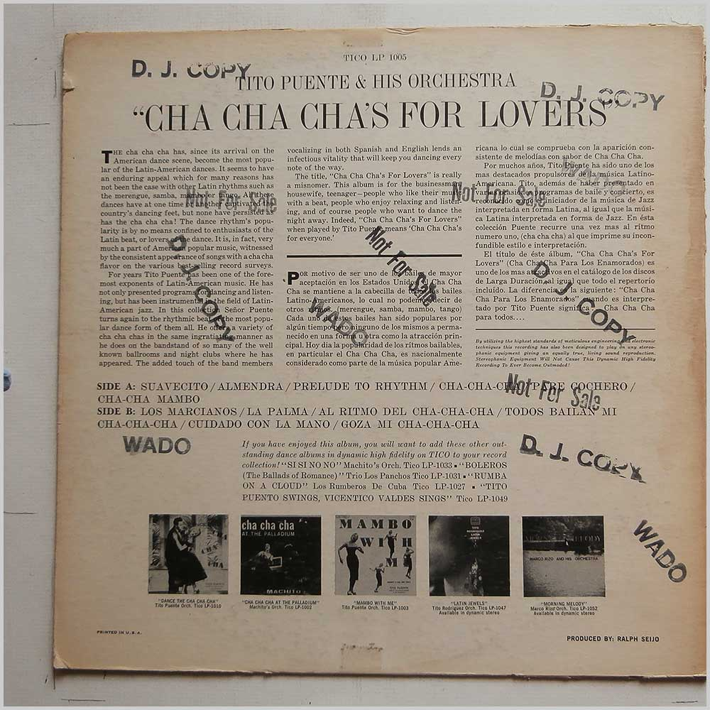 Tito Puente - Cha Cha Chas for Lovers (LP 1005)