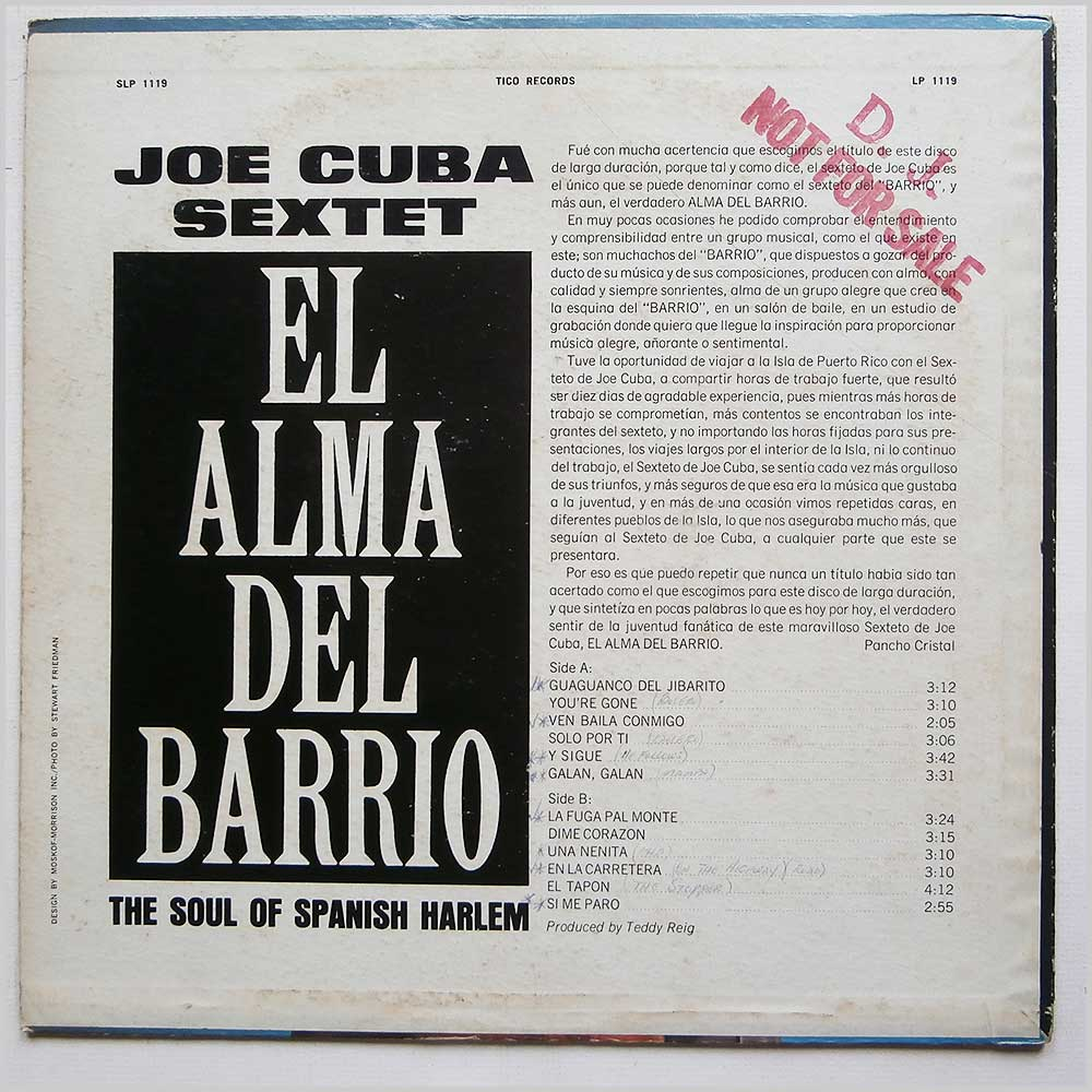 The Joe Cuba Sextet - El Alma Del Barrio, The Soul Of Spanish Harlem (LP 1119)