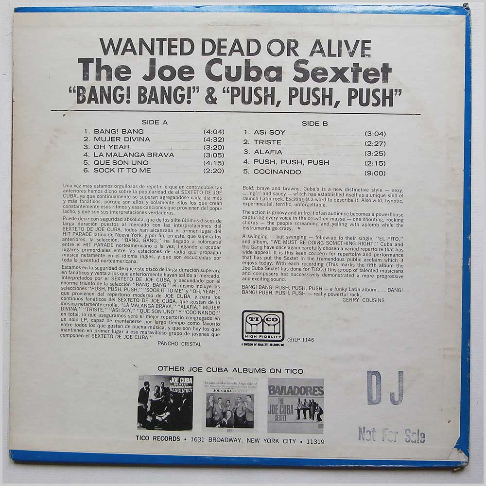 The Joe Cuba Sextet - Wanted Dead Or Alive (Bang! Bang! Push, Push, Push) (LP 1146)