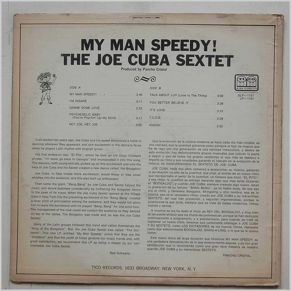 The Joe Cuba Sextet - My Man Speedy (LP-1161)