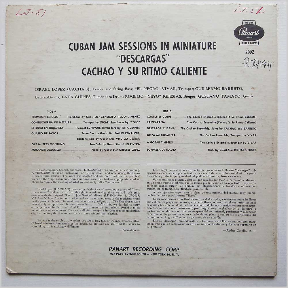 Cachao Y Su Ritmo Caliente - Cuban Jam Sessions In Miniature Descargas (LP-2092)